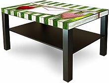 Möbelsticker für IKEA Lack Tisch 90x55cm Möbeltattoo mit Motiv Gartenzaun, Sticker