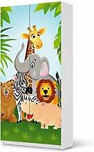 Möbelsticker IKEA Pax Schrank 201 cm Höhe - 2 Türen selbstklebend Design Wild Animals (Kids) Dekorfolie Selbstklebefolie Kleiderschrank Kinderzimmer