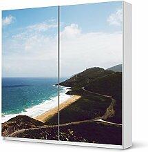 Möbelsticker IKEA Pax Schrank 201 cm Höhe - Schiebetür selbstklebend Design Bay (Natur) Dekorfolie Selbstklebefolie Kleiderschrank Schlafzimmer