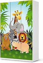 Möbelsticker IKEA Pax Schrank 236 cm Höhe - 3 Türen selbstklebend Design Wild Animals (Kids) Dekorfolie Selbstklebefolie Kleiderschrank Kinderzimmer