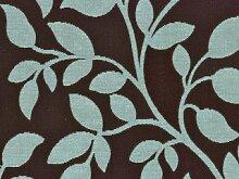 Möbelstoff Sweet November (für Kissen) Farbe 521 (braun, hellblau, türkis) - modernes Chenille-Flachgewebe (gemustert, Blätter, Ranke) Polsterstoff, Stoff, Bezugsstoff, Eckbank, Couch, Sessel, Hussen, Kissen