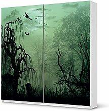 Möbeltattoo IKEA Pax Schrank 201 cm Höhe - Schiebetür selbstklebend Design Witchcraft (Artwork) Dekorfolie Selbstklebefolie Kleiderschrank Schlafzimmer
