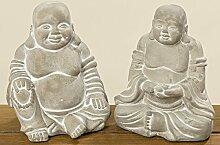 Mönch Buddha Beton 2er-Set 19 cm (853000) Gartenfigur Gartendeko