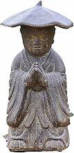 Mönch mit Hut, Skulptur aus Steinguss, Frostfes