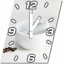 Mörser mit Stößel, Design Wanduhr aus Alu Dibond zum Aufhängen, 30 cm Durchmesser, breite Zeiger, schöne und moderne Wand Dekoration, mit qualitativem Quartz Uhrwerk