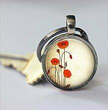 Mohnblumen-Schlüsselanhänger, schönes