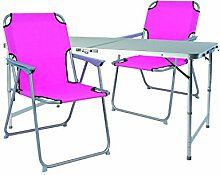 Mojawo ® 3tlg. Campingmöbel Set Alu 120x60x58/70cm 1x XXL Campingtisch mit Tragegriff + 2 Campingstühle Pink Stoff Oxfor