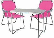 Mojawo ® 3tlg. Campingmöbel Set Alu Camping L70xB50xH59cm 1x Campingtisch mit Tragegriff + 2 Campingstühle pink Stoff Oxfor