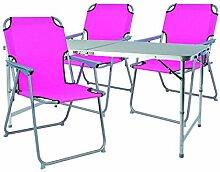 Mojawo ® 4tlg. Campingmöbel Set Alu 120x60x58/70cm 1x XXL Campingtisch mit Tragegriff + 3 Campingstühle Pink Stoff Oxfor