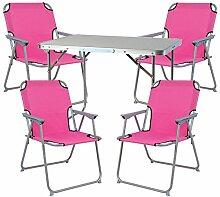 Mojawo ® 5tlg. Campingmöbel Set Alu Camping L70xB50xH59cm 1x Campingtisch mit Tragegriff + 4 Campingstühle pink Stoff Oxfor
