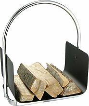 Mojawo® Kaminholz Tragekorb Kaminholzablage 30x37x48cm Schwarz (Ablage) & Silber (Tragegriff)