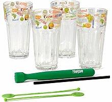 Mojito Set - 4 Cocktail Gläser mit Stößel und