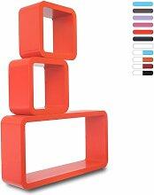 MOJO 3er Set Wandregal Retro Regal Vintage Cubes Design Shabby Chic Holzregal mc65