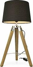 MOJO® Tischlampe Tripod Lampe Dreifuss Vintage Lounge Design Höhe ca. 65cm (Schwarz l95)