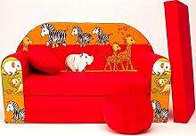 moleo Sofa Kindersessel Ausziehbett, Samt, Safari Rot D2z, 98 x 48 x 59 cm