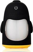 mollbii 150ml USB Pinguin Creative Ultrasonic Cool Mist Luftbefeuchter Mini tragbare USB-Luftbefeuchter mit 7Farbwechsel LED Night Lights Aroma Diffusor für Büro Schreibtisch/Schlafzimmer/Reise/Auto gelb