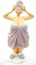Mollige Frauenfigur Turban Frauenstatue lila Dekoration Badezimmer
