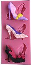 MOLLYSKY 3 Arten Dame High-Heels Design-Fondant-Silikon-Form-Schokoladen-Gummi-Pasten-Kuchen-Werkzeuge,Rosa