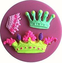 MOLLYSKY 3 Arten Kronen-Form-3D-Silikon-Form-Kuchen-Spitze-Werkzeuge Bakeware,Rosa