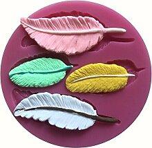 MOLLYSKY 4 Arten Blatt-Form-Silikon-Form-Fondant-Werkzeuge für Kuchen-Dekoration,Rosa