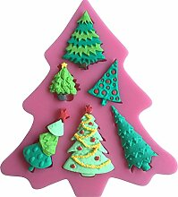 MOLLYSKY 6 Typen Christmas Tree Design Fondant-Silikon-Form Bakeware Kuchen-Werkzeuge,Rosa