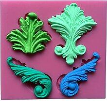 MOLLYSKY Blume und Blatt-Form-3D-Silikon-Biskuit-Form-Fondant-Werkzeuge Bakeware,Rosa