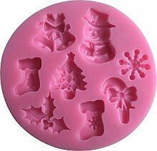 MOLLYSKY Christmas Series geformte Süßigkeit 3D Silikon-Fondant-Form-Kuchen Sugarcraft Werkzeuge,Rosa
