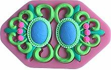 MOLLYSKY Gem Brosche Stil Fondant-Silikon-Form 3D-Spitze-Form-Kuchen-Werkzeuge,Rosa