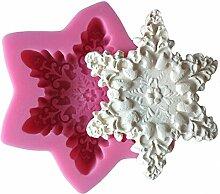 MOLLYSKY Große Schneeflocke-Silikon-Kuchen-Form-Seifen-Form-Kuchen-DIY Dekorieren-Werkzeuge,Rosa