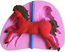MOLLYSKY Karussell-Silikon-Kuchen-Form-Pferd,das DIY Werkzeuge für Kuchen-kleinen Kuchen verziert,Rosa