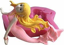 MOLLYSKY Mermaid Form 3D-Silikon-Schokoladen-Form-Fondant-Kuchen,der Werkzeuge,Rosa