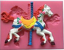 MOLLYSKY Pferd-Form-Silikon-Süßigkeit-Form Seifen-Kerze-Fondant-Werkzeuge,Rosa