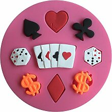 MOLLYSKY Poker Dice Design-Fondant-Silikon-Form-Küche Polymer Clay Werkzeuge,Rosa
