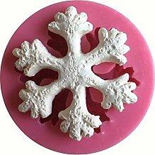 MOLLYSKY runde Form 3D-Silikon-Form mit Snow Flake Design Kuchen-Werkzeuge,Rosa