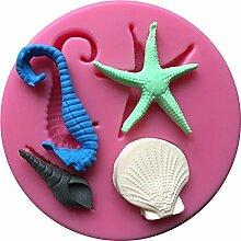 MOLLYSKY Seahorse Starfish geformte Praline Jello 3D Fondantform Gebäck Werkzeuge,Rosa