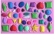 MOLLYSKY Verschiedene Formen von Diamanten Silikon-Fondant-Form-Kuchen Zuckerfertigkeit Werkzeuge,Rosa