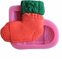 MOLLYSKY Weihnachten Socken Silikon Kuchenform Seifenformen Kuchen Werkzeuge Dekorieren Schimmel,Rosa