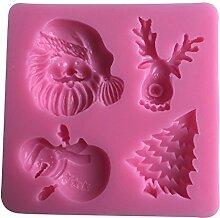 MOLLYSKY Weihnachtssilikon-Kuchen-Form-Schokoladen-Formen-Schneemann-Elch-Kuchen,der Werkzeuge verziert,Rosa