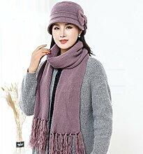 Mom Winter Hat Schal warme kalte Hut aus ( Farbe : Lila )