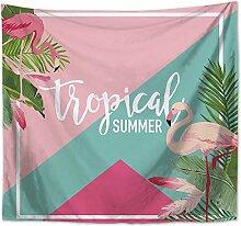 MON5F Home Tapestry Tropische Pflanze Flamingo