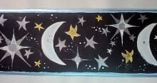 Mond Sterne Celestial Tapete Bordüre-Schwarz