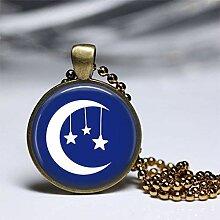 Mond und Stern Schmuck Halskette, Mond und Stern