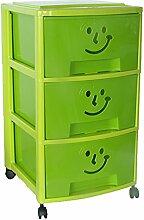 Mondex PLS6093-17Aufbewahrungsschrank mit drei Schubladen und Rollen für Kinder Kunststoff 39x 37x 67cm, grün, 67 CM