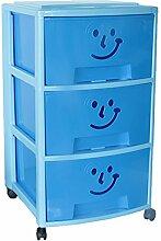 Mondex PLS609317 Aufbewahrungsschrank mit drei Schubladen und Rollen für Kinder Kunststoff 39 x 37 x 67 cm, blau, 67 CM