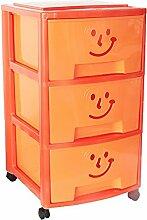 Mondex PLS609317 Aufbewahrungsschrank mit drei Schubladen und Rollen für Kinder Kunststoff 39 x 37 x 67 cm, orange, 67 CM