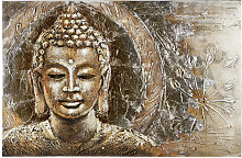 Monee ÖLGEMÄLDE Buddha , Mehrfarbig, Holz,