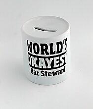 Money box with World's Okayest Bar Steward