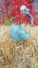 Monika sitzend Gartenfigur und Gartendeko als Steinvogel aus Edelstahl und Größe S ca 20 cm Design Tiedemann