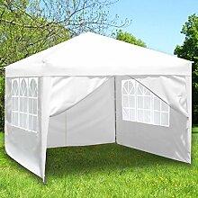 Monkey Mountain Faltpavillon 3x3 Meter -mit oder ohne Seitenwände auswählbar- Partyzelt (Pavillon + 3x Fenster- 1x Reißverschlussseitenwand, Weiß)