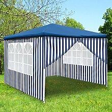 Monkey Mountain Steckpavillon 3x3 Meter -mit oder ohne Seitenwände auswählbar- Partyzelt (Pavillon Ohne Seitenwände, Blau)